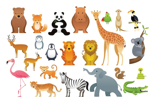 Illustrazione di animali selvatici in mano disegnata