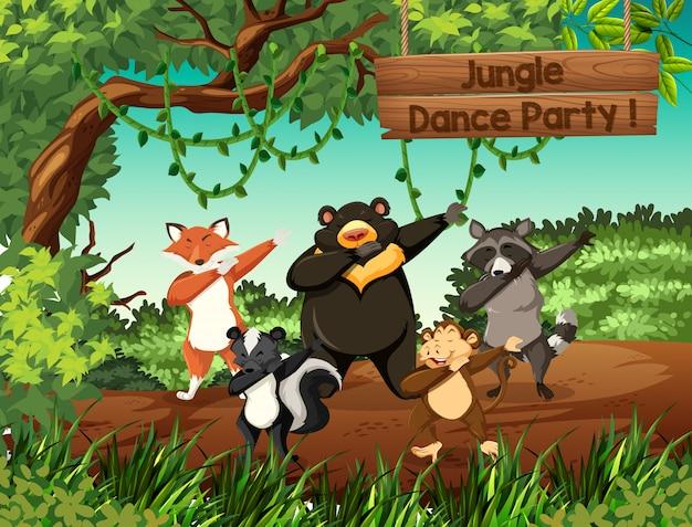 Festa di ballo nella giungla di animali selvaggi