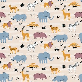 Seamless pattern di animali selvatici