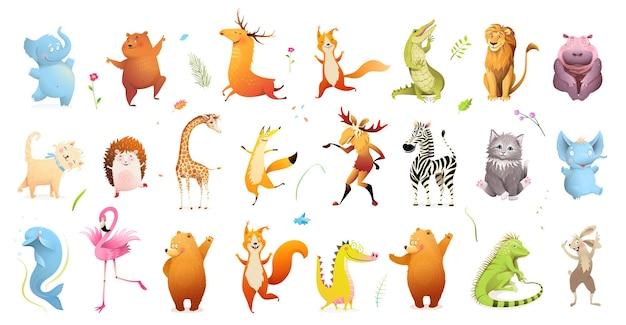 Grande raccolta di clipart degli animali selvatici del bambino dell'illustrazione della fauna selvatica.