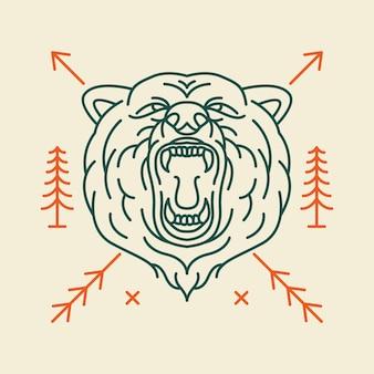 Testa di orso selvatico