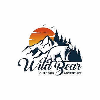 Wild bear logo avventura all'aria aperta