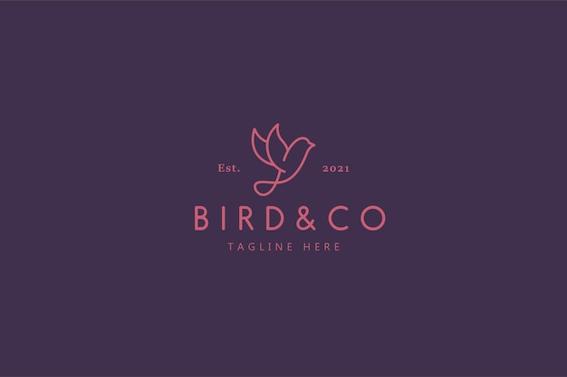 Logo e marchio dell'illustrazione di vita della natura dell'uccello selvatico