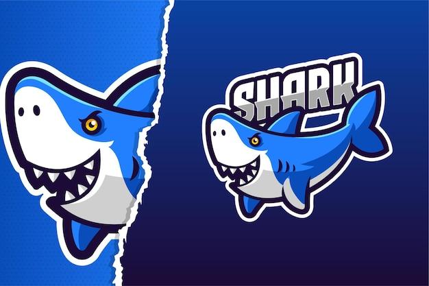 Modello di logo del gioco mascotte squalo blu selvaggio