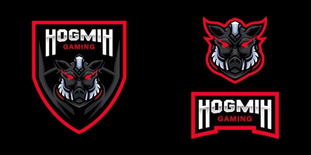 Logo della mascotte del gioco del cinghiale per lo streamer e la community di esports