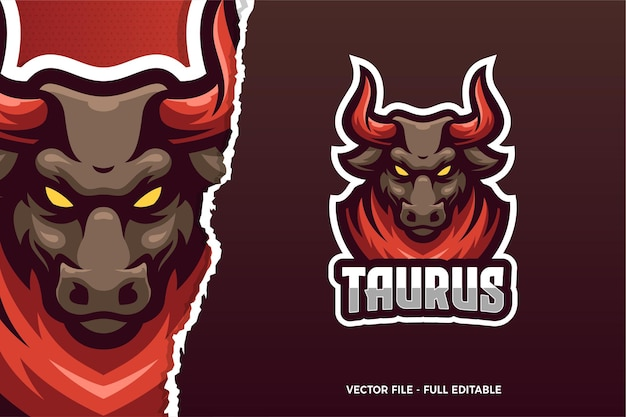 Wild bull animal e-sport game logo modello