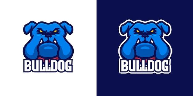 Modello di logo del personaggio mascotte del bulldog selvaggio