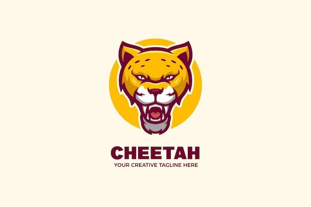 Modello di logo del personaggio mascotte del ghepardo selvaggio