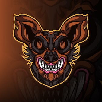 Logo della mascotte di gioco selvaggio gatto pazzo