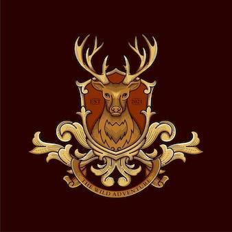 Illustrazione di logo di cervi selvatici