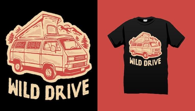 Illustrazione di furgone camper wild drive