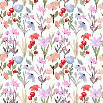 Modello senza cuciture dell'acquerello viola rosso floreale selvaggio