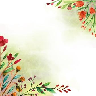 Acquerello angolare di fiori selvatici