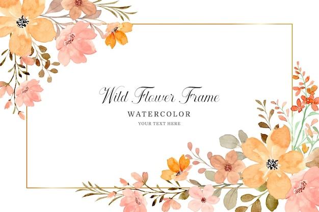 Sfondo cornice fiore selvatico con acquerello