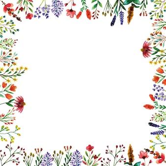 Decorazioni di fiori selvatici cornice della stagione primaverile