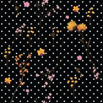 Stampa di fiori selvatici sul vettore senza cuciture polkadot