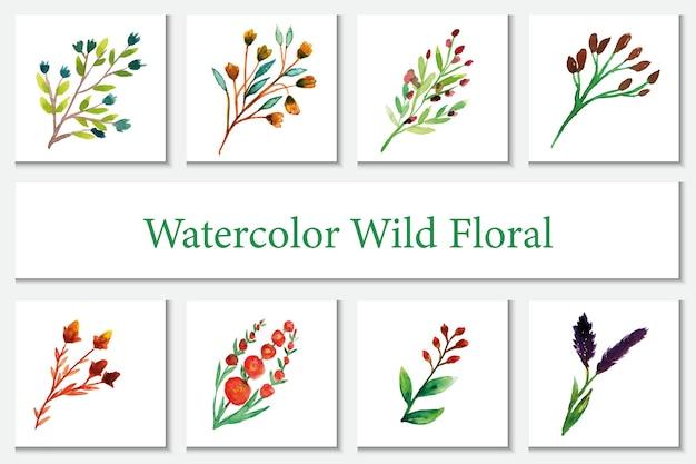 Attaccatura di parete ad acquerello a tema di fiori selvatici