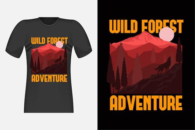 Disegno di t-shirt disegnato a mano della foresta selvaggia
