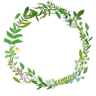 Corona di erbe selvatiche. foglie di cartone animato, brunch, fiori, ramoscello. illustrazione disegnata a mano.