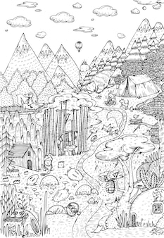 Vita selvaggia nella foresta disegnata in stile arte linea. disegno della pagina del libro da colorare. illustrazione vettoriale