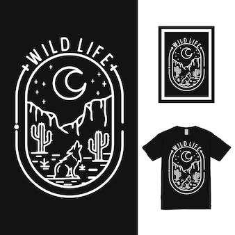 Design della maglietta wild life mono line Vettore Premium
