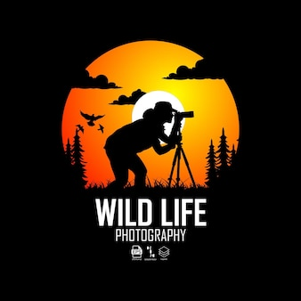 Modello logo fotografia wild life
