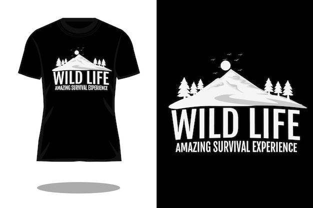 Design della maglietta con silhouette di vita selvaggia