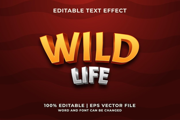 Vettore premium effetto testo wild life