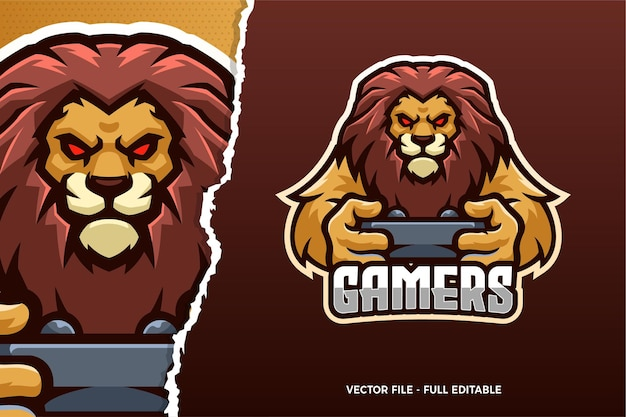 Modello di logo del gioco wild lion esports