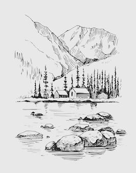 Paesaggio naturale selvaggio con montagne, lago, pini, rocce. illustrazione disegnata a mano convertita in vettoriale.