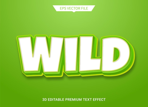 Natura selvaggia 3d effetto stile testo modificabile vettore premium