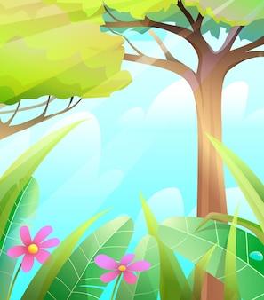Foresta delle fiabe della natura selvaggia con alberi ed erba sfondo estivo colorato per bambini
