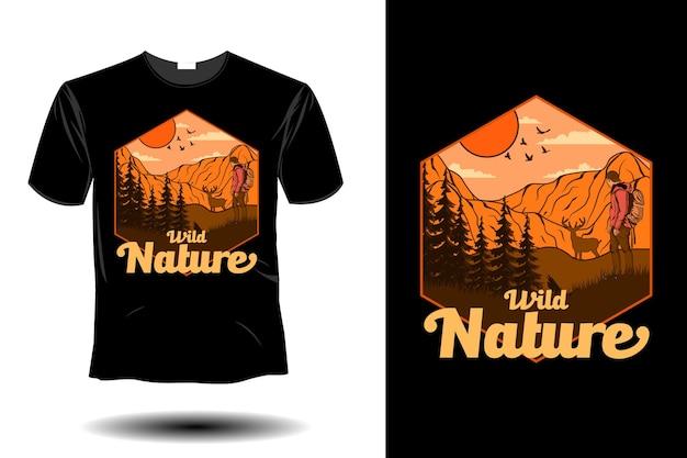 Design vintage retrò di mockup di natura selvaggia