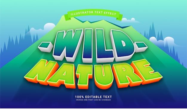 Effetto stile testo wild nature. effetto di testo modificabile