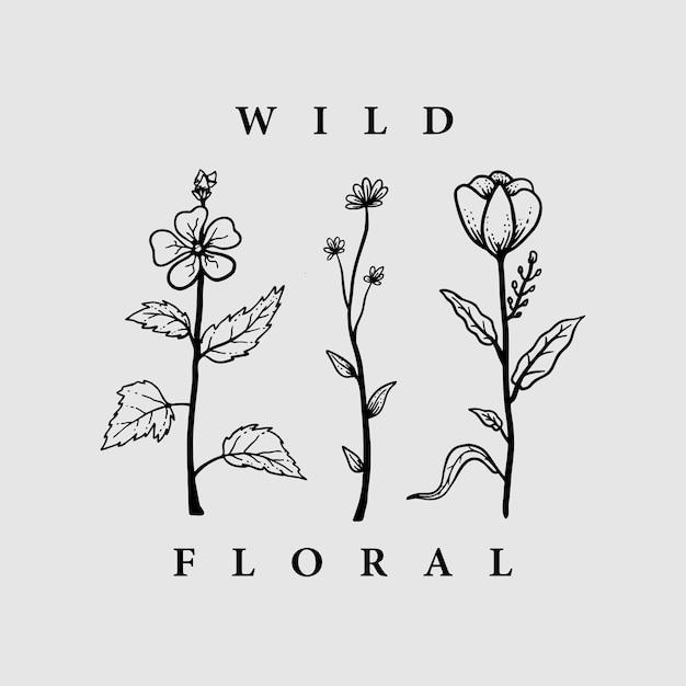 Disegnato a mano vintage floreale organico selvaggio