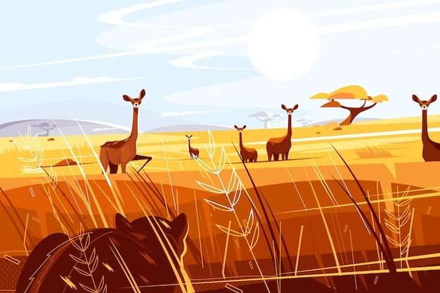 Illustrazione pittoresca selvaggia della savana.