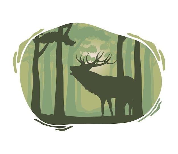 Scena della siluetta della fauna selvatica della renna