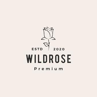Illustrazione d'annata dell'icona di logo dei pantaloni a vita bassa rosa selvaggia del fiore