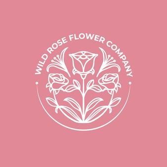 Modello di logo del fiore di rosa selvatica