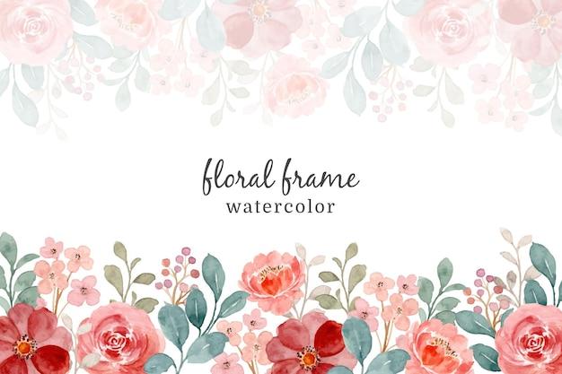 Cornice dell'acquerello di rose selvatiche. sfondo floreale