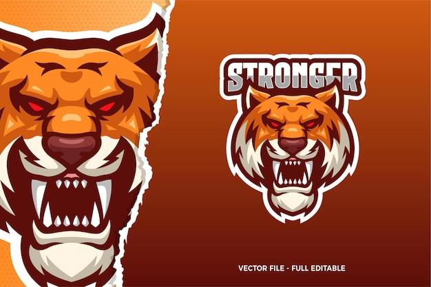 Modello di logo del gioco di e-sport wild tiger