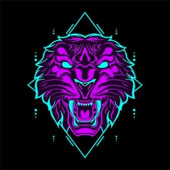Testa di tigre selvaggia colore viola con ornamenti geometrici astratti
