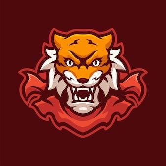 Personaggio con logo e-sport mascotte tigre selvaggiasport