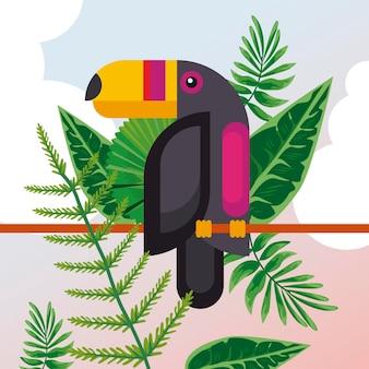 Carattere esotico animale dell'uccello selvaggio del tucano con i fogli