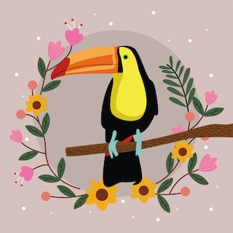 Animale esotico dell'uccello del tucano selvaggio nel ramo dell'albero