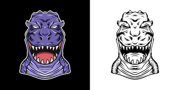 Design dell'illustrazione della testa di trex selvaggio