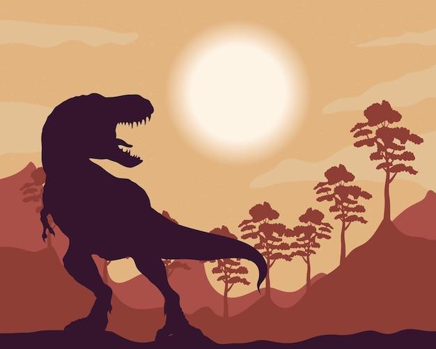 Wild tyrannosaurus rex fauna silhouette scena