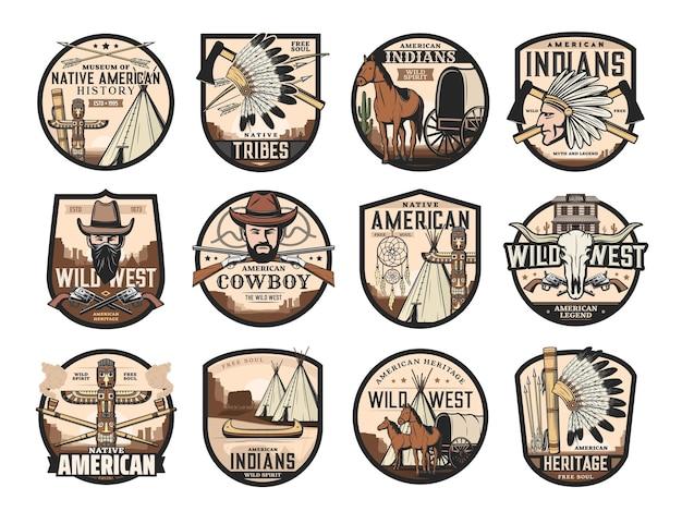 Wild west, icone occidentali americane di saloon, cowboy e teschio di toro longhorn, vettore. simboli nativi americani di totem e capo indiano tomahawk, canoa e acchiappasogni, diligenza e cavallo