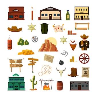 Attributi del selvaggio west. illustrazione variopinta occidentale americana.