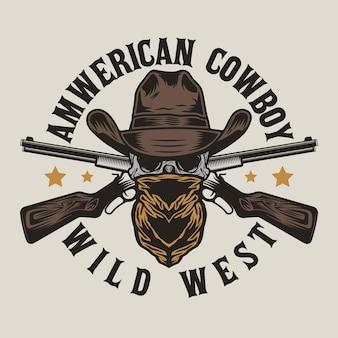 Teschio di bandito del selvaggio west con cappello da cowboy e pistole